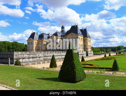 A photo of the Chateau Vaux Le Vicomte near Paris, France,  taken on a beautiful summer's day. Picturesque formal - Stock Photo