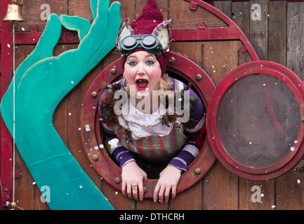 Blackpool, Lancashire, UK 18th February, 2014. Actress Alice Bounce, 27 from London at St John's Square where 'The - Stock Photo