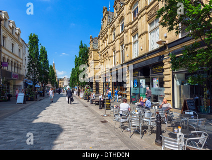 Cafes and shops on Cornmarket in the city centre, Halifax, West Yorkshire, England, UK - Stock Photo