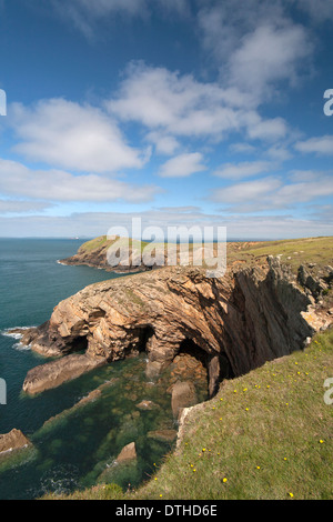 rugged coastline at Deer Park near St Martins Haven, Pembrokeshire - Stock Photo
