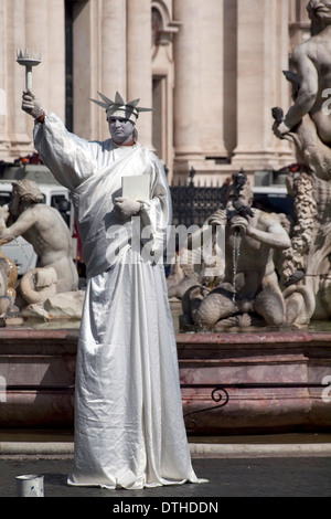 Mime on the street Rome - Statue of Liberty - Stock Photo