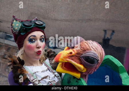 Giant Chicken, big bald bird head, at Blackpool, Lancashire, UK 18th February, 2014. Actress Alice Bounce, 27 from - Stock Photo