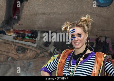 Blackpool, Lancashire, UK 18th February, 2014. 'Plum Lemon', Actress G. Carter at St John's Square where 'The Imaginary - Stock Photo