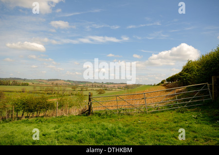 View across fields at Brailes in Warwickshire, England. - Stock Photo