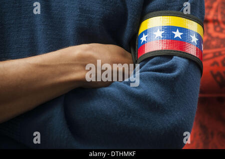 Buenos Aires, Buenos Aires, Argentina. 18th Feb, 2014. Under the slogan ''Against coup-mongers in Venezuela'', demonstrators - Stock Photo