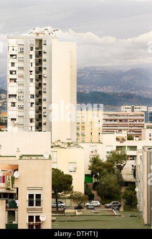 View of Social Housing Apartment Buildings called les Moulins in Nice, France - Stock Photo
