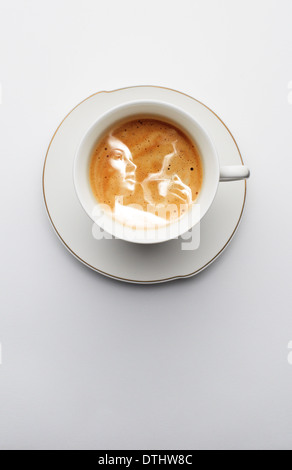 cup of coffee with art - Stock Photo