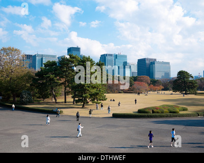 A view of the East Gardens of the Tokyo Imperial Palace in Tokyo, Japan. - Stock Photo