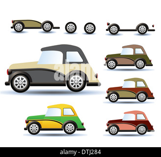 Various variants of a car on a white background - Stock Photo