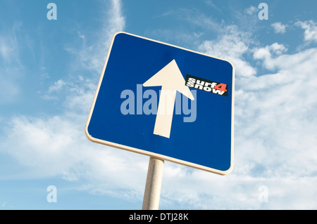 straight on direction road sign - Stock Photo