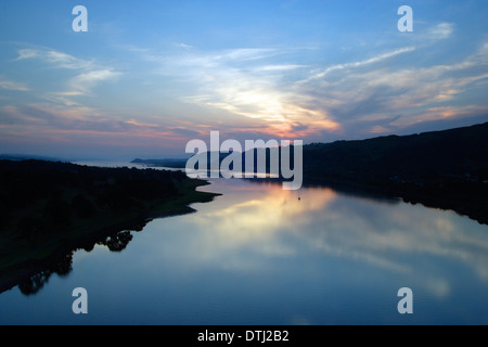The River Clyde at dusk from the Erskine Bridge, Renfrewshire - Stock Photo