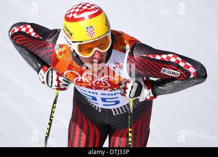 Krasnaya Polyana, Russia. 19th Feb, 2014. Ivica Kostelic of Croatia reacts during the Men's Giant Slalom Alpine - Stock Photo