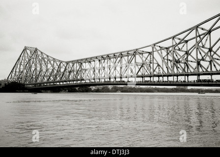 Howrah Bridge and River Hooghly in in Kolkata Calcutta City in West Bengal in India in South Asia. Architecture - Stock Photo
