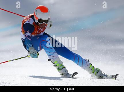 Krasnaya Polyana, Russia. 19th Feb, 2014. Bode Miller of USA reacts during the Men's Giant Slalom Alpine Skiing - Stock Photo
