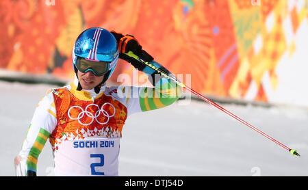 Krasnaya Polyana, Russia. 19th Feb, 2014. Felix Neureuther of Germany reacts during the Men's Giant Slalom Alpine - Stock Photo