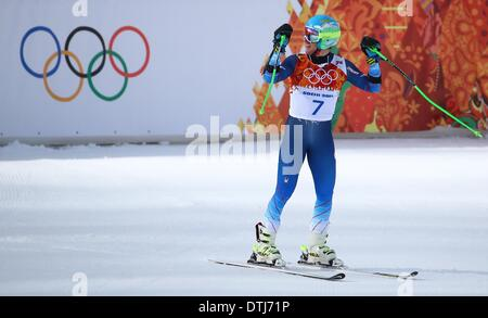 Krasnaya Polyana, Russia. 19th Feb, 2014. Ted Ligety of the USA reacts during the Men's Giant Slalom Alpine Skiing - Stock Photo