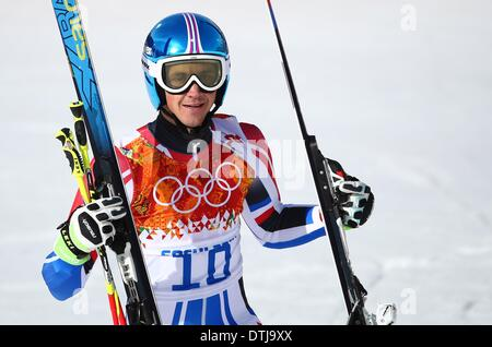 Krasnaya Polyana, Russia. 19th Feb, 2014. Steve Missillier of France reacts during the Men's Giant Slalom Alpine - Stock Photo