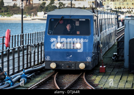 One of the pier electric trains arriving at the Pier Head, - Stock Photo