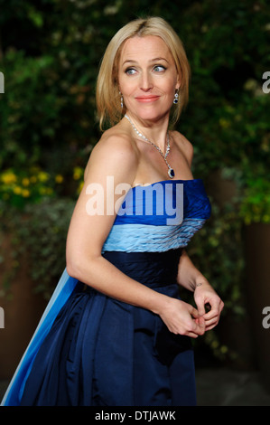 Gillian Anderson arrives for the British Academy Film Awards 2014 After Party at the Grosvenor Hotel. - Stock Photo