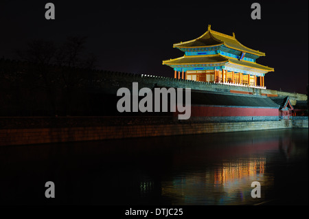 Gate of Divine Prowess of Forbidden City at night. Beijing, China.