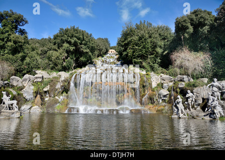 fountains waterfalls water gardens of the Royal Palace of Caserta, Italy - Stock Photo