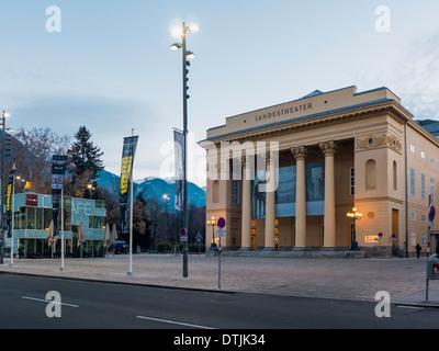 Tirolean state theater in Innsbruck, Karwendel mountain range, Tyrol, Austria - Stock Photo