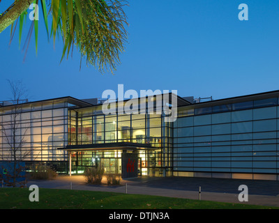 Lit exterior of National Waterfront Museum, Swansea, Wales, UK - Stock Photo