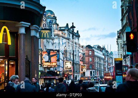 Shaftesbury Avenue with several theatres, London, WC2, UK - Stock Photo