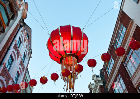 Chinese New Year decorations in Wardour Street, Chinatown, Soho, London, WC2, UK - Stock Photo