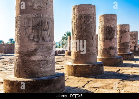 The Ancient Egyptian Temple at Kom Ombo on the bankc of the River Nile. - Stock Photo