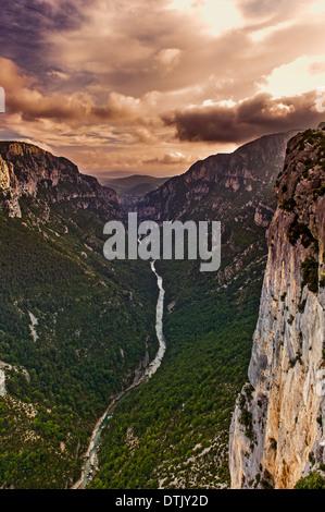 Europe, France, Var, Regional Natural Park of Verdon, Gorges du Verdon. The grand canyon at dusk. - Stock Photo