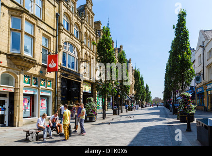 Shops on Cornmarket in the city centre, Halifax, West Yorkshire, England, UK - Stock Photo