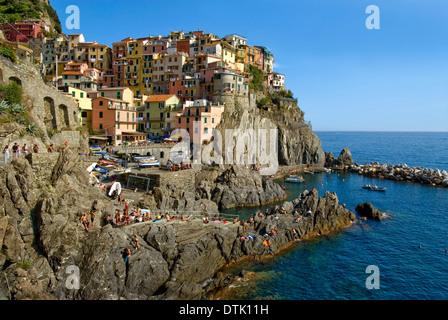 Scenic Coastal Landscape near Manarola at the Cinque Terre National Park in Liguria, North West Italy.