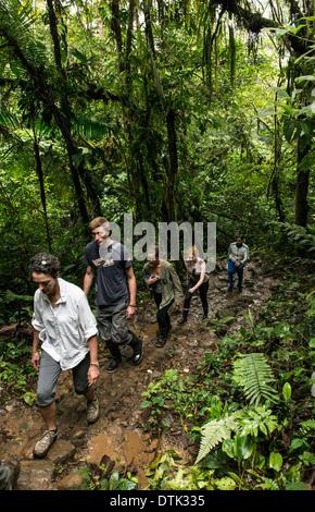 Tourists hiking Tenorio Volcano National Park of Costa Rica Central America - Stock Photo