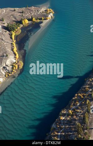 Siltation in Kawarau Arm, Lake Dunstan, Central Otago, South Island, New Zealand - aerial - Stock Photo