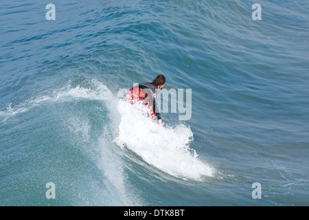 Morning Surfer at Hermosa Beach, Los Angeles, California. - Stock Photo