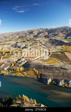 Lake Dunstan, Vineyards and Carrick Range, Bannockburn, Central Otago, South Island, New Zealand - aerial - Stock Photo