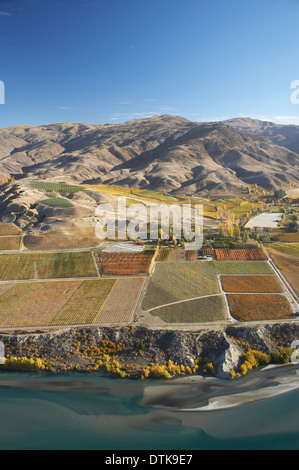 Lake Dunstan, Vineyards and Carrick Range, Bannockburn, Central Otago, South Island, New Zealand - aerial - Stock Photo