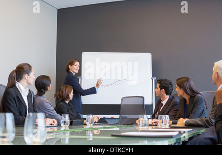 Businesswoman drawing graph for colleagues in meeting - Stock Photo