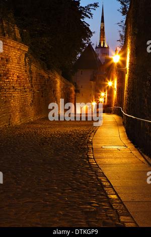Old European sreet at night - Stock Photo