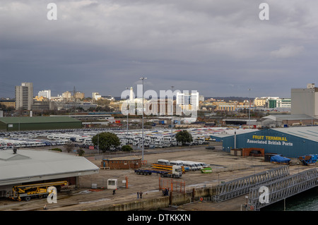 Southampton Docks, Southampton, England, United Kingdom seen from a departing cruise ship. - Stock Photo