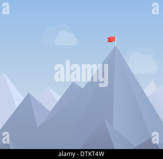 Flat design modern illustration concept of flag on the mountain peak, meaning overcoming difficulties and goals - Stock Photo