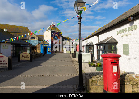 Shops in Lands End Cornwall visitor centre the most westerly point of England on the Penwith peninsula - Stock Photo
