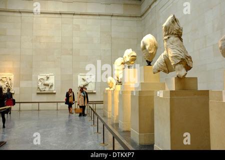 Elgin Marbles Greek/Roman artifacts at the British Museum, London, England - Stock Photo