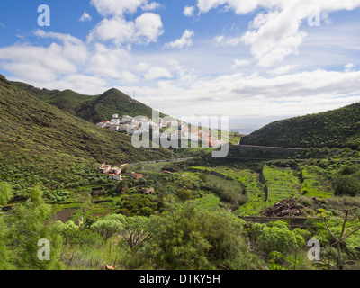The village of San Andres in the Anaga peninsula seen from above, Tenerife Canary Islands Spain - Stock Photo