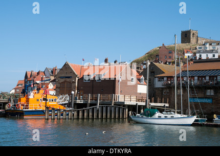 RNLI lifeboat Whitby North Yorkshire England, RNLB 'George and Mary Webb' on its moorings - Stock Photo