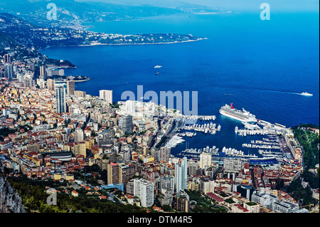Europe, France, Principality of Monaco, Monte Carlo. General View from above. - Stock Photo