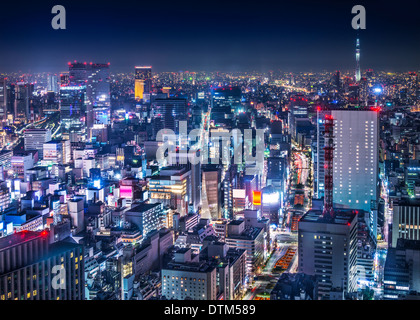 Tokyo, Japan cityscape aerial cityscape over Ginza district at night. - Stock Photo