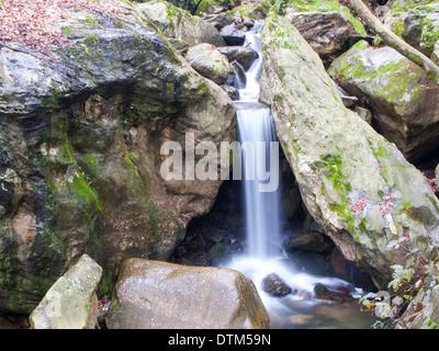 Small waterfall on a mountain stream in MOunt Pelion, Greece - Stock Photo