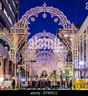 KOBE, JAPAN - DECEMBER 12, 2012: Luminarie light festival. The annual festival commemorates the 1995 Great Hanshin - Stock Photo